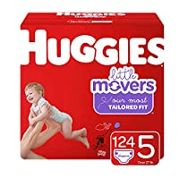 Huggies Little Movers Baby Diapers, Size 5, 124 Ct, One Month Supply, Packaging May Vary