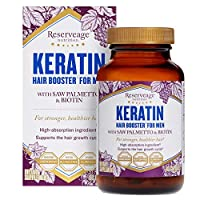 Reserveage, Keratin Hair Booster for Men, Hair Supplement, Supports Healthy Growth and Thickness with Biotin, 60 Capsules (30 Servings)