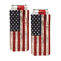 PKM - (2) Distressed USA AMERICAN FLAG Slim Can Cooler Sleeve - Beer Blank Skinny 12 oz Neoprene Coolie - Perfect For 12oz Red Bull, Michelob Ultra,Truly