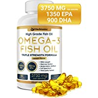High Strength Omega 3 Fish Oil Supplement 3750MG (HIGH EPA 1350MG + DHA 900MG) 180 Capsules - Fish Oil Omega 3 Pills Triple Strength Burpless Wild Caught Fish Oil Capsules Heart Health Joint Support