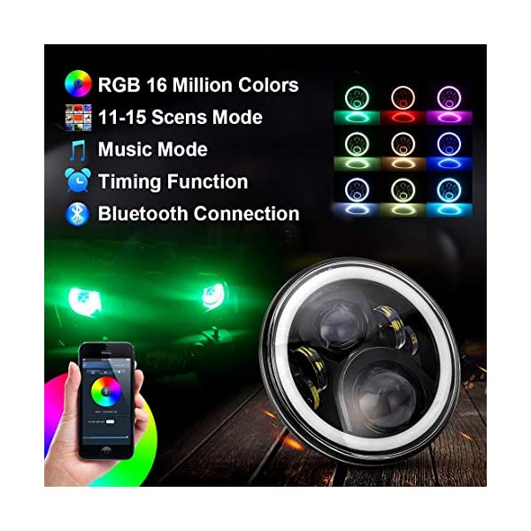 MOSTOP 5.75 RGB Harley Davidson Motorcycle Headlight LED RGB Halo Angle Eye Vehicle Light H4 Plug App Bluetooth Multicolor Control RGB Headlight