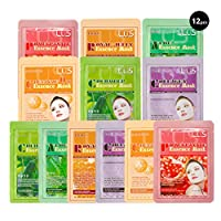Lus Essence Facial Face Mask Paper Sheet Korea Skin Care Moisturizing 12 Pack (Mix - 2 of Each) - Collagen, Aloe, Coenzyme, Cucumber, Pomegranate, Royal Jelly