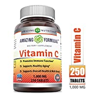Amazing Formulas Vitamin C 1000 Mg,Tablets - (Non-GMO,Gluten Free, Vegan) - Promotes Immune Function- Supports Healthy Aging- Supports Overall Health & Well-Being (250 Count)