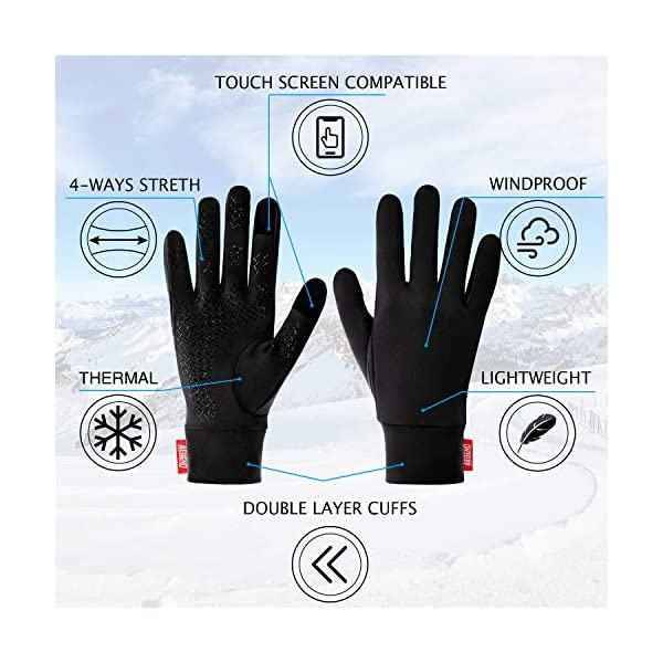 Touch Screen Gloves Winter Liner Gloves Elastic Thin Gloves for Sports Driving Cycling Texting Walking Skiing Work Gloves Women Men In Winter Early Spring Or Fall anqier Lightweight Running Gloves