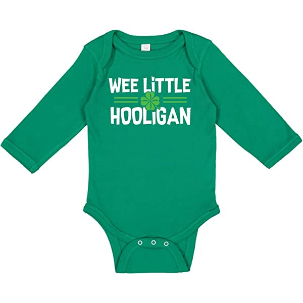 Baby Boy St Patricks Day One-Piece Long Sleeve Romper Outfit Wee Little Hooligan