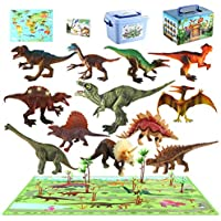 MEIGO Dinosaur Toys - Toddlers 7'' Educational Realistic Dinosaur Figures w/ 31.5''x31.5'' Activity Play Mat   Dino Book & Map   Preschool Learning Gift for Kids 3 4 5 6 Year Old Boys Girls (12pcs)