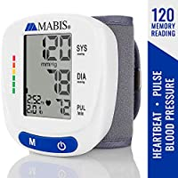 Mabis Wrist Blood Pressure Monitor Clinically Accurate to Detect Pulse and Irregular Heartbeat While Storing up to 120 Readings with Date and Time, White