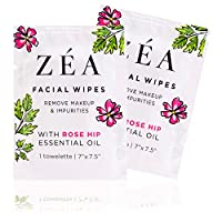 ZEA Facial Wipes | Infused With Rose Hip Essential Oil | Alcohol and Paraben Free | 100 Convenient On-The-Go Packets