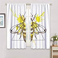Bedroom Decor Blackout Shades Queen Bee Makhenda Patterned Bee on Color Splashed Background Hand Drawn Doodle Sketch Print Blackout Shades for Bedroom W52 x L63 Inch Brown Yellow