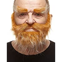 Mustaches Self Adhesive, Novelty, Realistic, Traper Fake Beard Fake Mustache and Fake Eyebrows, Honey with White Color