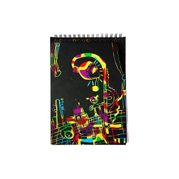 Miracliy Rainbow Scratch Art Notebooks for Children with Colorful Mini Notebooks and Wooden Styluses 4 Pack