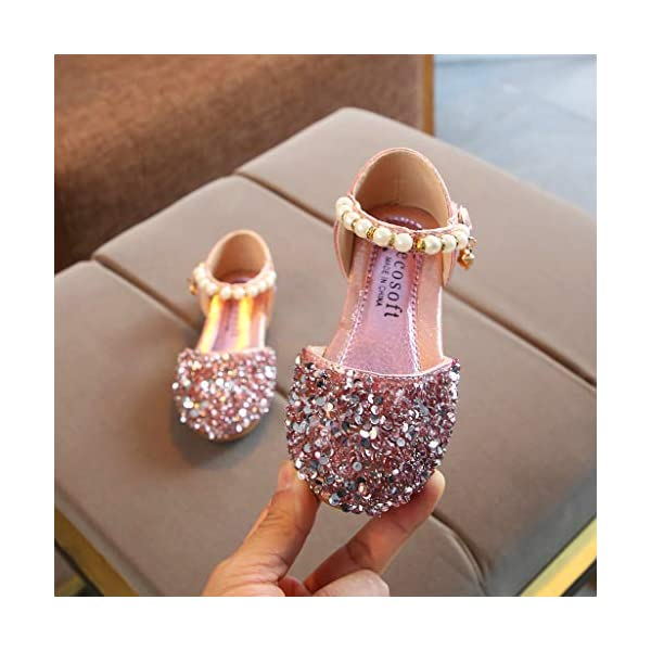 Sparkle Princess Shoes for Girls Sequin Flat Shoes Toddler Girls Buckle Bling Bling Shoes Mary Jane Princess Party Dress Shoes for Toddlers /& Girls DaoAG