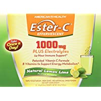 American Health Ester-C Effervescent Powder Packets, Natural Lemon Lime - 24-Hour Immune Support, Supports Energy Metabolism, with Electrolytes - 1000 mg, 21 Count, 21 Servings
