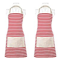 Xornis 2 Pack Cotton Canvas Aprons for Women with 2 Pockets Adjustable Kitchen Cooking Baking Chef Cute Apron, Red White Stripe