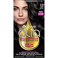 Garnier Olia Ammonia Free Permanent Hair Color, 100 Percent Gray Coverage (Packaging May Vary), 2.0 Soft Black Hair Dye, Pack of 1