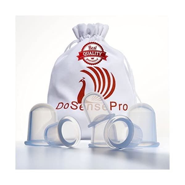 Cupping Therapy Sets Massage Cups - by DoSensePro. 6 Flexible Silicone Vacuum Cups. Acupuncture Fireless Cupping Therapy for Arthritis,Pain Relief, Relaxation, Anti-Aging, Anti-Cellulite