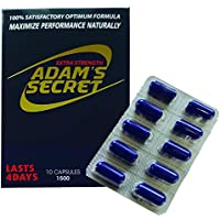 Adams Secret 1500 100% Natural Pills for Men Boost Your Performance, Energy, and Endurance 10 Pills Per Pack with Adam's Secret Original Inner Seal