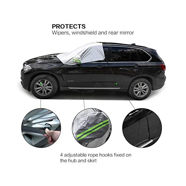 Magnetic Elastic Hooks Fixed Four Wheels /& Reflective Warning Bar on Mirror Covers Big Ant Windshield Snow Cover Ice Sun Frost and Wind Proof in All Weather Fit for Most Vehicle