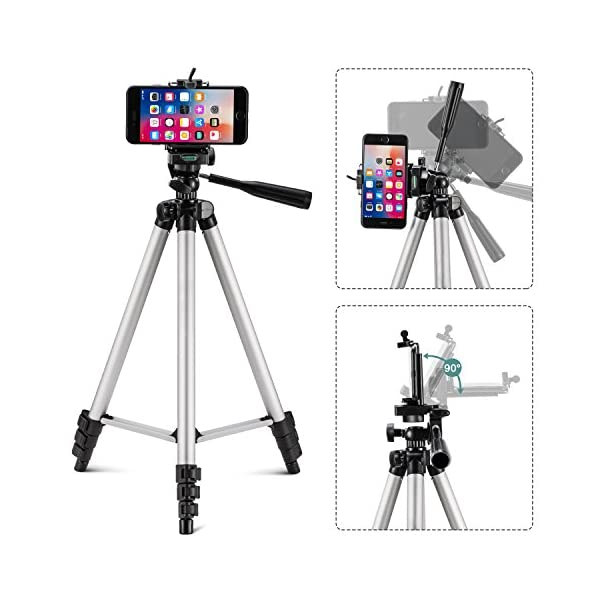 50-inch Video Tripod for Cellphone with iOS Andriod System Eocean Tripod Compatible with iPhone Xs//Xr//Xs MaX//X//8//Galaxy Note 9//S9//Google Universal Tripod for Gopro and Camera with Wireless Remote
