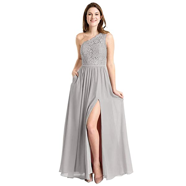 Ufashion Long A-Line Chiffon Lace Bridesmaid Dress Formal Evening Wedding Party Gown