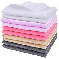 Sinland Microfiber Facial Cloths Fast Drying Washcloth 12inch x 12inch (Pack of 10, White+Cream+Pink+Purple+Grey)