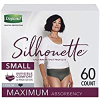 Depend Silhouette Incontinence & Postpartum Underwear for Women, Maximum Absorbency, Disposable, Small, Black, 60 Count (2 Packs of 30) (Packaging May Vary)
