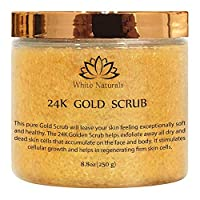 Pure 24K Gold Scrub By White Naturals:Moisturizing Face&Body,Exfoliate With Anti-Aging Properties,Removes Dead Skin Cells,Reduces The Appearance Of Wrinkles&Repairs Sun Damage 8.8oz
