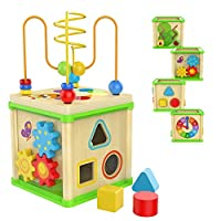 TOP BRIGHT Wooden Activity Cube Toys for 1 2 Year Old Girl Boy, One Year Old First Birthday Gift Ideas, Baby Toy with Bead Maze Shape Sorter