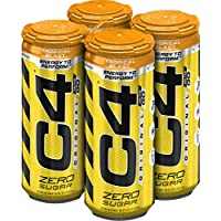 C4 Original Sugar Free Sparkling Energy Drink Tropical Blast | Pre Workout Performance Drink with No Artificial Colors or Dyes | 16oz (Pack of 4)
