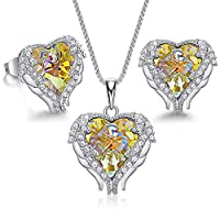 CDE Angle Wing Love Heart Necklaces and Earrings Silver Tone/Gold Tone Jewelry Set Birthday for Mom/Wife/Sister/Best Friend