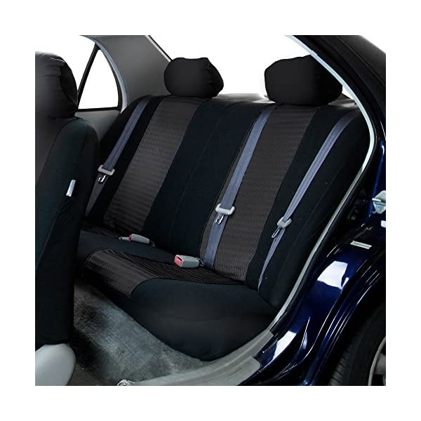 FH Group Universal Fit Full Set Trendy Elegance Car Seat Cover, Black FH-FB060115, Airbag compatible and Split Bench, Fit Most Car, Truck, Suv, or Van