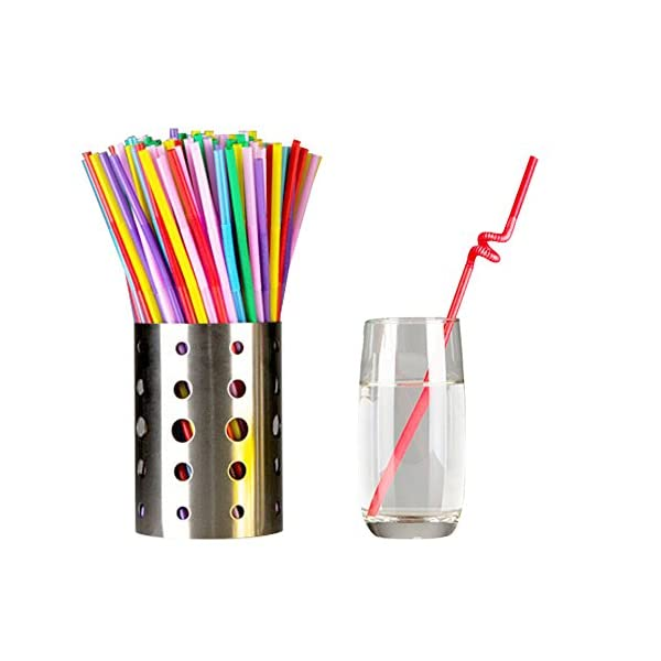 Tomnk 300pcs 10.3 Inches Disposable Flexible Bendy Drinking Straws Plastic Straws