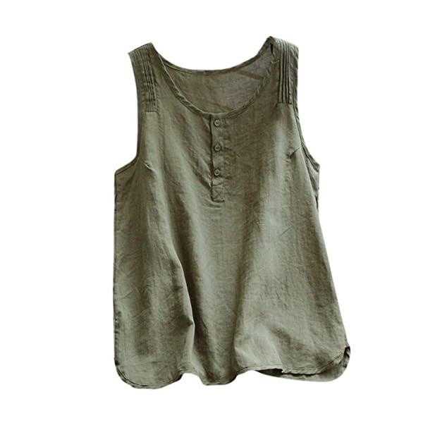 Tank Tops for Women,Dainzuy Womens Summer T-Shirts Casual Loose Sleeveless V Neck Linen Button Vest Blouse with Pocket