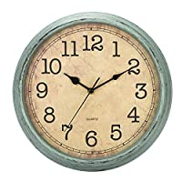 HYLANDA 12 Inch Vintage/Retro Wall Clock, Silent Non-Ticking Quartz Decorative Wall Clocks Battery Operated with Large Numbers&HD Glass Easy to Read for Kitchen/Living Room/Bathroom/Bedroom/Office