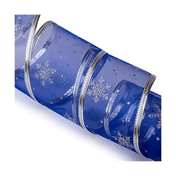 -Blue//Silver Swirl Sheer Glitter Ribbon 36 Yards VATIN Christmas Ribbon,Wired Holiday Party Ribbons Assorted Snowflake Dot Holly Star Patterns Decorations 2.5 Width x 6Yard Each Roll