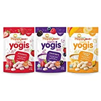 Happy Baby Organic Yogis Freeze-Dried Yogurt & Fruit Snacks, Variety Pack, 6 Count (2 of Each Flavor)