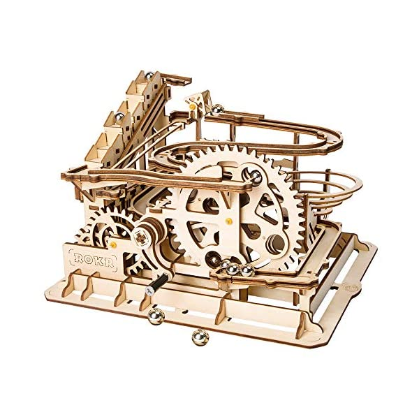 ROBOTIME 3D Wooden Laser-Cut Puzzle DIY Assembly Craft Kits Waterwheel Coaster with Steel Balls Best Birthday Gifts for Adults and Kids Age 14