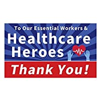 Funnytree Thank You Healthcare Workers Heroes Backdrop for Essential Employees First Responders Suppor Photography Background Signs of Justice Yard Together to Fight Pandemic Banner Poster