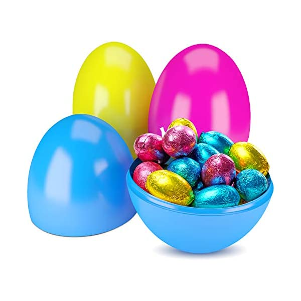 Classroom Prize Supplies Toy Easter Theme Party Favor Basket Stuffers Fillers Easter Eggs Hunt 6 Pieces 10 Jumbo Plastic Bright Solid Easter Eggs Assorted Colors for Filling Treats