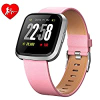 H4 Fitness Health 2in1 Smart Watch for Men Women Smartwatch with All-Day Heart Rate / Blood Pressure / Sleep Monitor IP67 Waterproof Sports Activitity Tracker Bluetooth Watch (Pink)