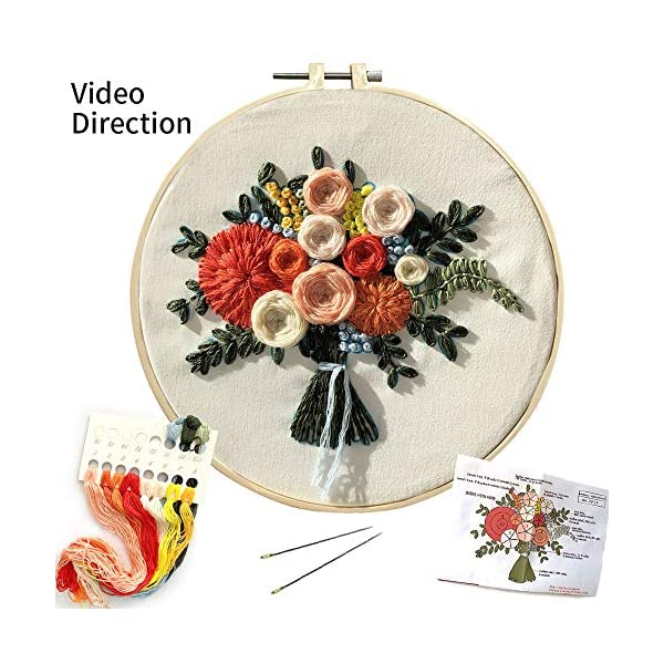 Louise Maelys Embroidery Kit for Beginner Flower Wreath Full Range Cross Stitch with Pattern Stamped DIY Embroidery Starter Kits