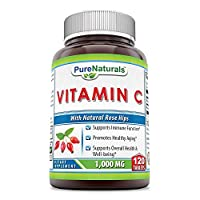 Pure Naturals Vitamin C with Rose Hips, 1000 Mg, Tablets -Supports Immune Function, Overall Health & Well-Being* -Promotes Healthy Aging* (120 Count)