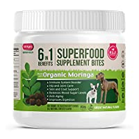 Superfood Dog Treats with Organic Moringa, All Natural Dog Multivitamin + Minerals Antioxidants Omega 3 6, Supports Overall Health, Digestive & Immune System, Hip & Joint, Skin & Coat, Made in USA