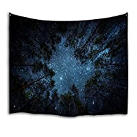 QiyI Tapestry Wall Hanging Nature Star Forest Tapestry Blanket Galaxy Trees Universe Large Tapestries Psychedelic Sky Beach Sheets Bedroom Starry Tapestry - 90