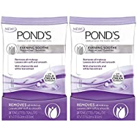 Pond's Evening Soothe Wet Cleansing Towelettes with Chamomile and White Tea, 28 Count (Pack of 2)