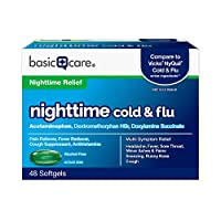 Basic Care Nite Time Cold & Flu Relief Softgels, Pain Reliever, Fever Reducer, Cough Suppressant & Antihistamine, 48 Count