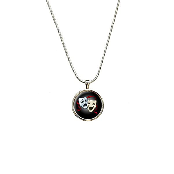 Sterling Silver Girls .8mm Box Chain 3D Drama Actors Theater Comedy Mask Pendant Necklace