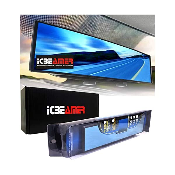 ICBEAMER Broadway 240mm Type-A Clip On Rearview Flat Surface Mirror Color Blue Tint Universal Interior Rear Mirror