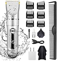 KERUITA Electric Hair Clippers for Men Quiet LED Display Cordless Rechargeable Hair Trimmers Set, IPX7 Waterproof Haircut Barber Trimmer Kit with Hairdressing Cape