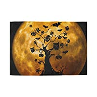 YUEND Cup Kitchen Home 1PC Table Mats Halloween Night Full Moon Tree Bat Resistant Placemats Heat Durable for Dinning Table Non Slip